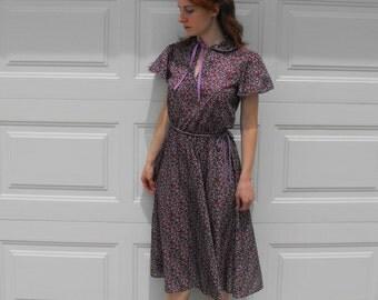Vintage Purple Floral Dress XS S Garden Print Summer 70s