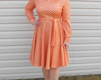 Peach Polka Dot Dress Retro Rockabilly Vintage 60s L XL