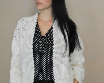 50s Sweater Cream Ivory Knit Cardigan Winter Vintage 1950s XXL Plus 46 Bust