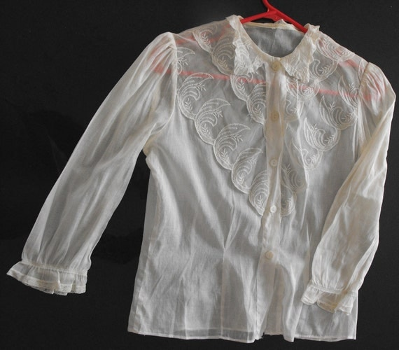 Vintage Sheer Blouse White Lace Ruffle 34 Bust S 50s