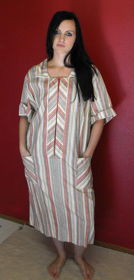 Vintage 60s Striped Dress XXL Plus Sears 52 Bust 50 Waist