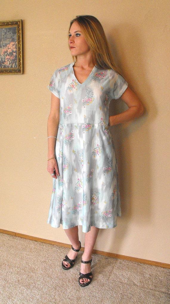 Vintage 70s Spring Floral Secretary Dress Print Casual M L