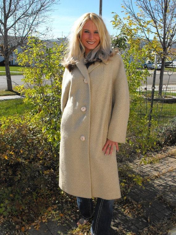 Vintage 50s Coat Ivory Tweed Winter Plus XL XXL 50 Bust