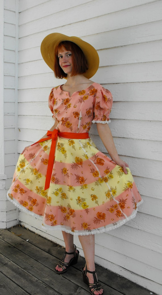 Vintage Dress H Bar C Dancing Party Floral Print Rockabilly S M