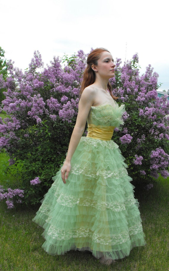 Vintage 50s Prom Dress Green Tulle Gown S XS XXS Strapless Party
