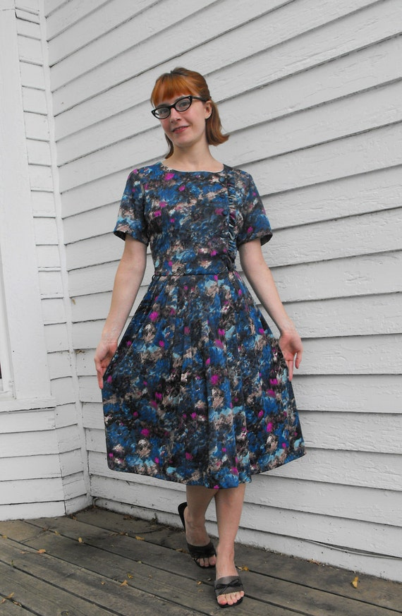 Vintage 50s Dress Blue Floral Print Ruffle XS S Nylon