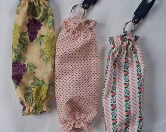 Mini Cotton, Plastic Bag Holder, Your choice of Design: Grape Clusters, Mauve Diamonds, Teddy Bears or Pink Flowers