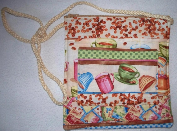 Coffee Cups, Quilted Mini Bag