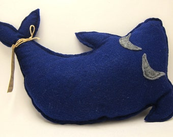 Blue whale sewn felt monster toy