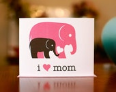 I Heart Mom New Baby Card w/ Gray & Pink Elephants - 100% Recycled Paper