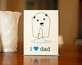 I Heart Dad - Baby & Papa Polar Bears Father's Day or New Baby Card on 100% Recycled Paper
