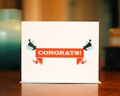 Chirp and Cheerful Birds with Banner - Congratulations Card on 100% Recycled Paper