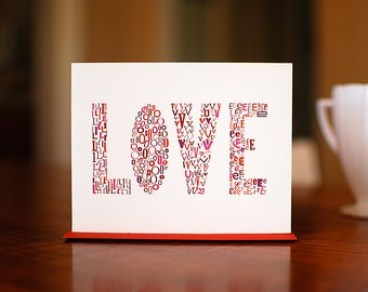 SALE - Love Letters Typography I Love You Card on 100% Recycled Paper