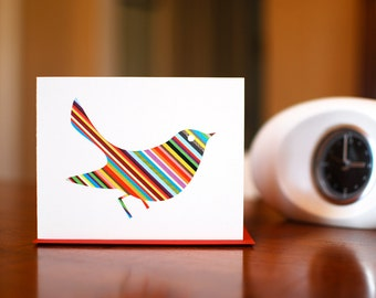 Rainbow Striped Bird Silhouette Blank Card - Colorful Stripes on 100% Recycled Paper