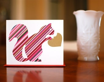 Eat Your Heart Out Squirrel - Striped Blank Card on 100% Recycled Paper