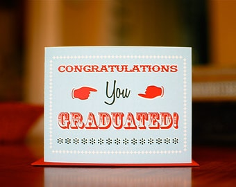 Old Timey Typography Graduation Card in Red and Aqua Blue on 100% Recycled Paper