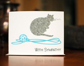 Shadow Cat Sympathy Card - Grey Cat with Aqua Ball of Yarn - 100% Recycled Paper