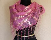 1990s Cotton Candy Pink and Gold Metallic Striped Sheer Fringed Scarf