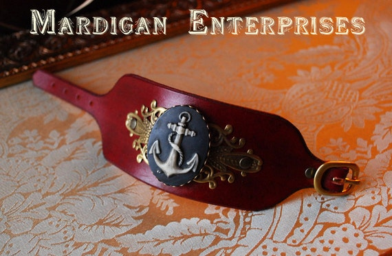 Leather Cuff - Blue Anchor cameo on Red Leather
