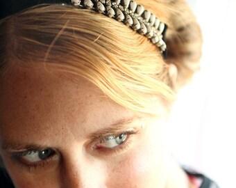Unique Rhinestone Velvet Sash, Headband, from a Vintage Bracelet.