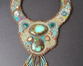 Hand embroidered Turquoise gem and bead necklace