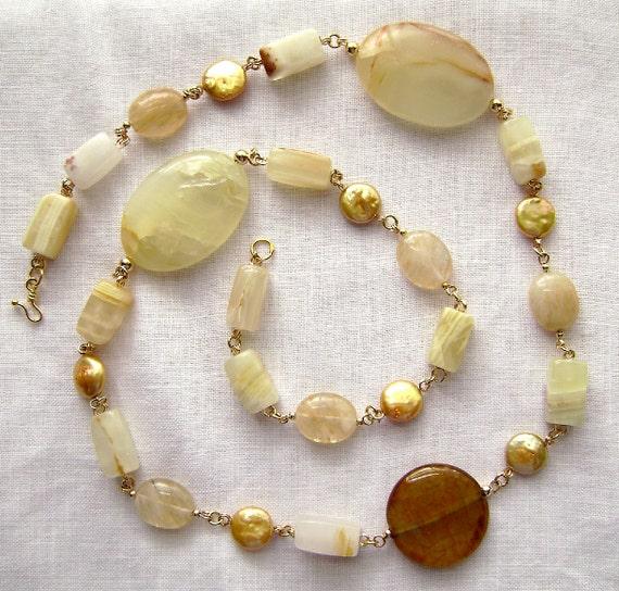 Agate Necklace, Gemstone Jewelry, Italian Onyx, Cultured Pearls, Hazel Quartz, Gold Vermeil, Honey, Autumn, Fall, Luxe