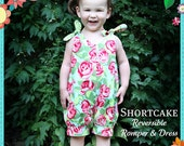 PATTERN: Shortcake Reversible Romper and Dress Pattern - Original Paper Printed Sewing Pattern - Size 6 Month through 6 Years