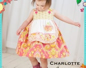 Girls Apron Dress PATTERN: Charlotte Apron Dress - Original Printed Sewing Pattern - Size 6 Month through 8 Years