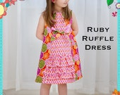 Girls Dress PRINTED PATTERN: Ruby Ruffle Dress - Original Printed Sewing Pattern - Size 6 Month through 10 Years by The Cottage Mama