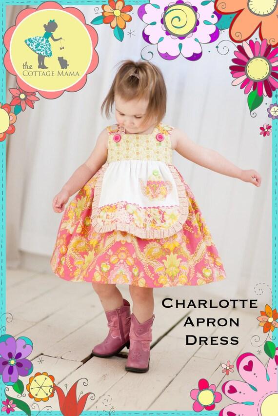 Girls Apron Dress PATTERN: Charlotte Apron Dress - Original Printed Sewing Pattern - Size 6 Month through 8 Years