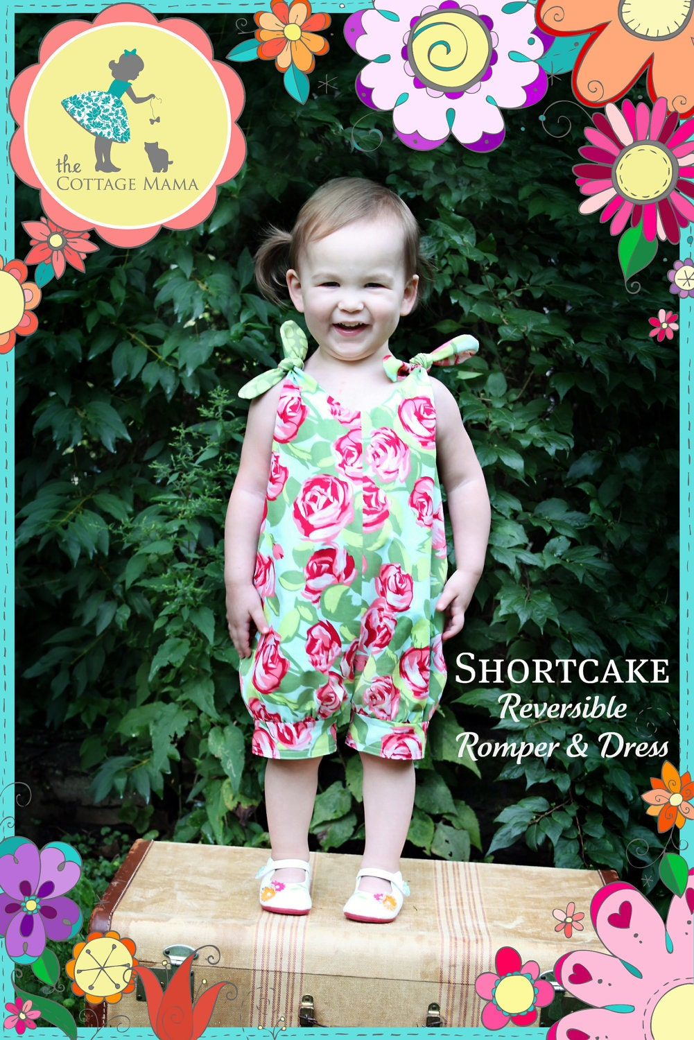 PRINTED Sewing Pattern: Shortcake Reversible Romper and Dress - Size 6 Month through 6 Years