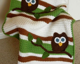 Owl Baby Blanket Baby Shower Gift Crochet