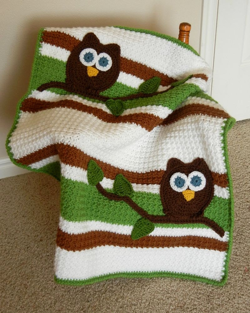 Free Crochet Pattern For Owl Baby Blanket : Owl Baby Blanket Baby Shower Gift Crochet Ready to Ship