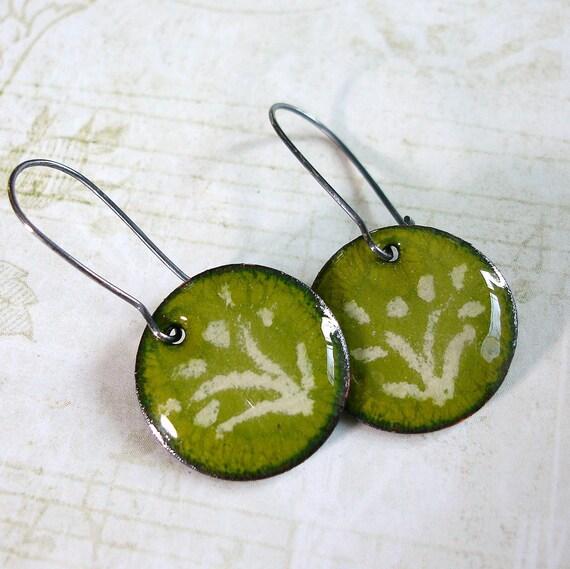 Green Enamel Earrings, Olive Green, Sterling Silver, Enamel Flower Jewelry