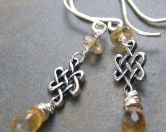 Citrine Briolettes and Celtic Knot Earrings - Sterling Silver Dangles