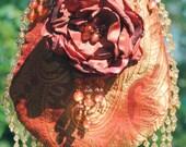 Silk Evening Bag - Embellished Silk Shoulder Bag - Prom Beaded Bag -Traditional Ridicule in Rosy Pumpkin