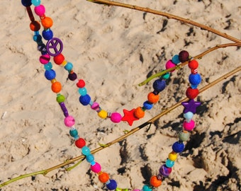 Beaded Necklace - Felted Wool, Millifiori, and Vintage Beads - Sustainable Village Beads - Boho Hippiu Necklace - R13