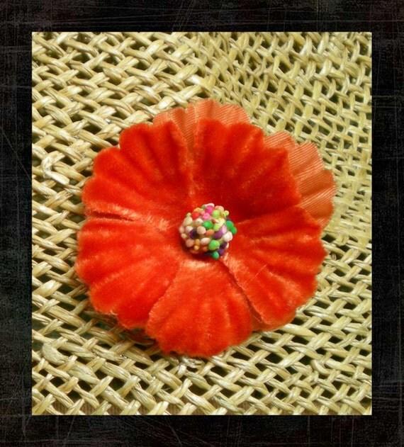 Flower Earrings - Orange Earrings - Vintage Velvet Millinery Flower Fall Earrings - Faux Clip-on Earrings -Cyber Monday Sale