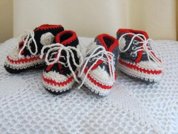 Handmade Crocheted New Born Converse Baby Booties