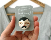 "French mustache man brooch - Gentleman face pin - ""Henri"" - Ready to ship"