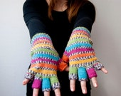 Hand knit fingerless gloves -parrot. rainbow colors. stripes.