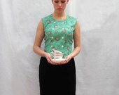 Mint Green, Rose Print Button-up Blouse - Handmade Vintage Top