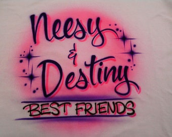 Airbrushed Best Friend with Names T-Shirt size S M L XL 2X Airbrush  BFF T Shirt