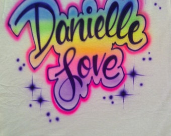 SUMMER SALE Airbrush Shirt w/ Up To 3 Names or Words T-Shirt Airbrushed T Shirt