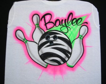 Airbrush Zebra Bowling Ball T-Shirt Personalized with Name size S M L XL 2X Airbrushed T Shirt