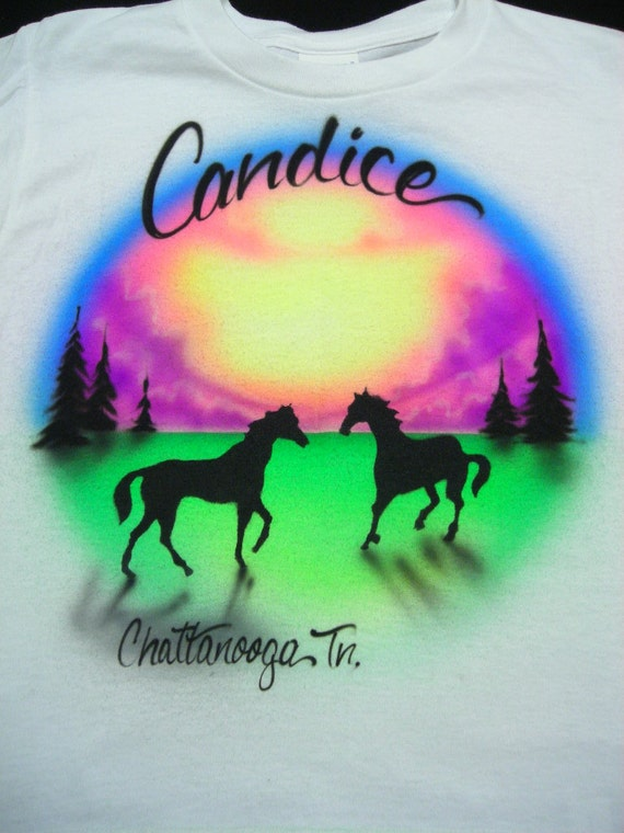Airbrushed Horses in Field T Shirt w/Name Youth size XS S M L XL 2X Airbrush T-Shirt