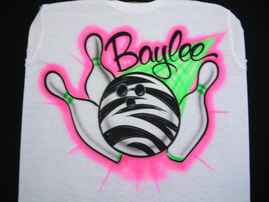 Airbrush Zebra Bowling Ball T Shirt Personalized With Name