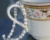 Classic White Swarovski Pearl and Silver Shade Crystal Bracelet