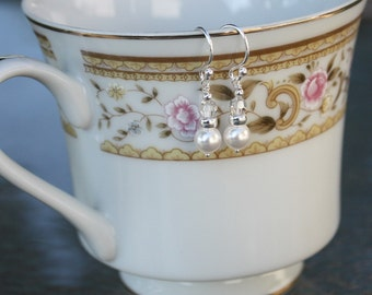 Classic White Swarovski Pearl and Silver Shade Crystal Earrings