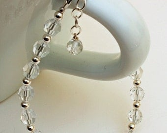 Crystal Bracelet, Clear Swarovski Crystal Bracelet with Sterling Silver Accents